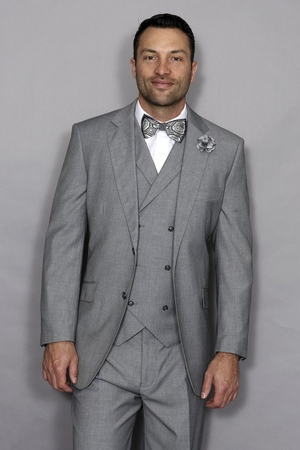 Statement Men's Wool Grey 3 Piece DB Vested Suit Messina - click to enlarge