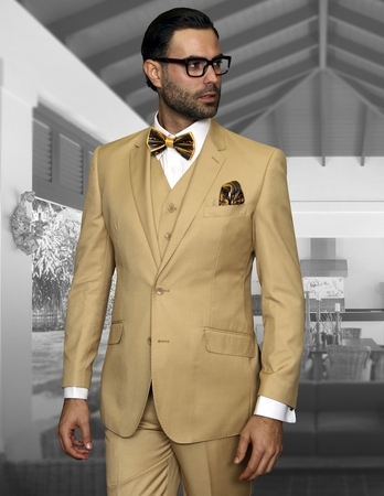 Statement 100% Wool Tailored Fit 3 Piece Suit Chestnut STZV-100 - click to enlarge