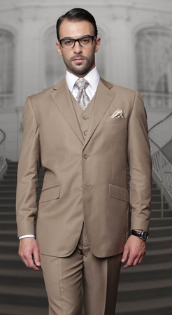 Statement 100% Wool Modern Fit Bronze 3 Piece Suit STZV-100 - click to enlarge