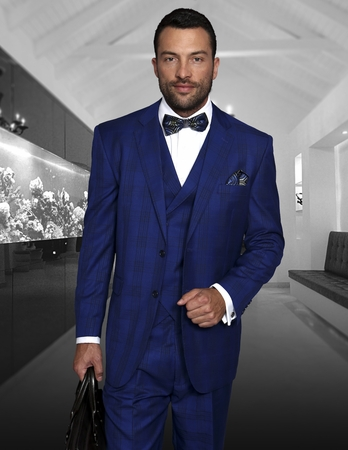 Statement  Sapphire Blue Italian Wool Plaid Suits 3 Pc. TZ-941 IS - click to enlarge