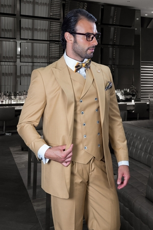 Statement Men's Camel Wide Leg Vested Wool Suit Florence - click to enlarge