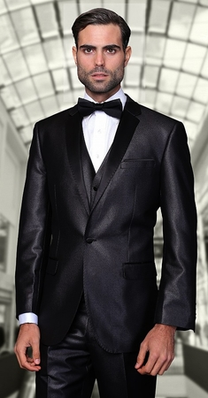 Statement Black  Modern Fit 3 Piece Shawl Collar Tuxedo Enzo-1 - click to enlarge