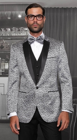 Statement Silver 3 Piece Casino Suits Modern Fit Bellagio - click to enlarge