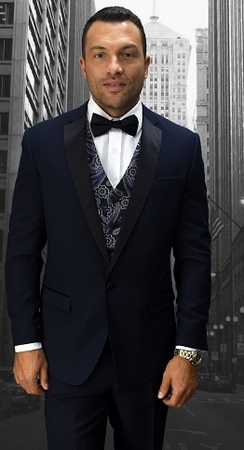 Statement Designer Style Modern Fit Navy Fancy Vest Tuxedo Look-6 - click to enlarge