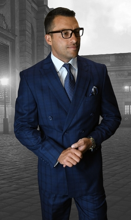 Statement Double Breasted Suit Mens Sapphire Wool Plaid SD-200 IS - click to enlarge