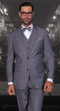 Statement Fine Wool Tailored Fit 3 Piece Suit Charcoal STZV-100 - click to enlarge