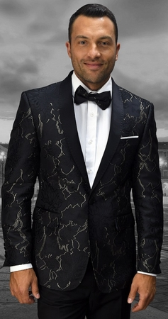 Statement Mens Black With Gold Tapestry Print Modern Fit Dinner Jacket SQ-101 - click to enlarge