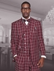 Statement Mens Burgundy Square Pattern Wide Leg Wool Suit Terni IS