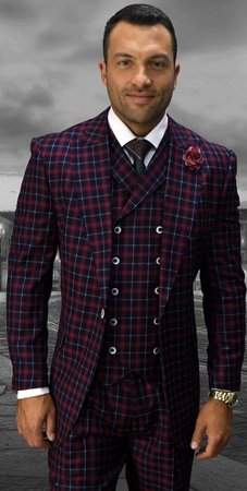 Statement Mens Burgundy Wool Wide Leg Double Breasted Vest 3 Piece Fashion Suit Naples - click to enlarge