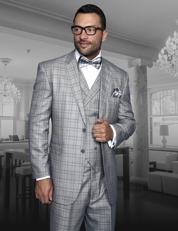Statement Mens Grey Plaid 3 Piece Suit 100% Wool TZ-942 IS - click to enlarge