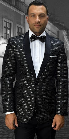 Statement Mens Dot Design Gold Modern Fit Fashion Dinner Jacket SJ-101 - click to enlarge