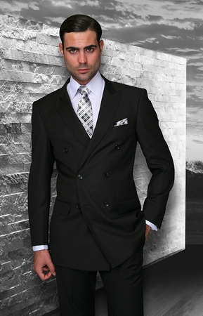 Statement Mens Double Breasted Solid Black  Wool Suits TZD-100 - click to enlarge