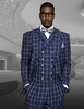 Statement Mens Indigo Square Pattern Wide Leg Wool Suit Terni IS