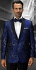 Statement Mens Navy Modern Fit Floral Design Tuxedo Suit Jacket SQ-101