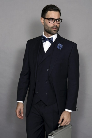 Statement Men's Wool Navy 3 Piece DB Vested Suit Messina - click to enlarge