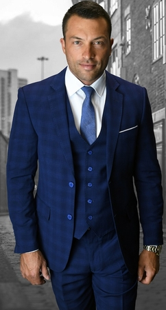 Statement Mens Sapphire Designer Tailored Fit Plaid 3 Piece Suit Mantua-2 - click to enlarge