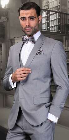 Slim Fit Suit Mens 3 Piece Grey Wool Statement Lorenzo - click to enlarge