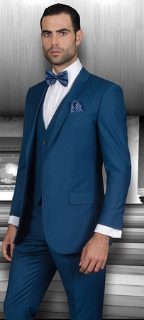 Slim Fit Suits by Statement Mens 3 Piece Indigo Wool Lorenzo - click to enlarge