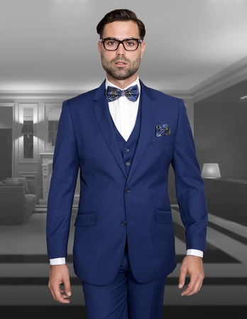 Slim Fit Suit Mens 3 Piece Sapphire Blue Wool Statement Lorenzo - click to enlarge
