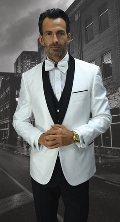 Statement Mens White Black  Dot Fabric Modern Fit Bellagio-6 - click to enlarge