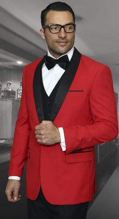 Statement Mens Red Shawl Collar Modern Fit 3 Piece Tuxedo Encore - click to enlarge