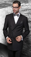 Statement Mens Double Breasted Solid Black Wool Suits TZD-100 Size 48 Reg Final Sale