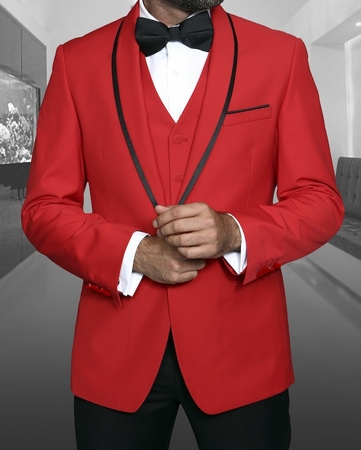 Statement Red 1920s Young Mens Modern Fit Wool Tuxedo Genova - click to enlarge