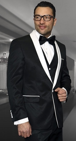 Statement Black Modern Fit 3 Piece Rounded Collar Tuxedo Enzo-6 - click to enlarge