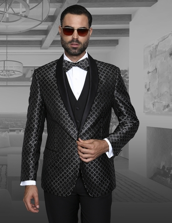 Statement Mens Black Entertainer Suit Modern Fit Bellagio-5 - click to enlarge