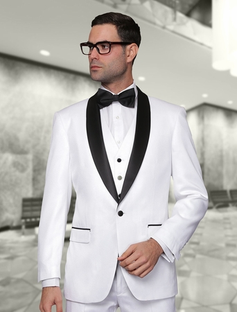 Statement White Modern Fit 3 Piece Shawl Collar Tuxedo Enzo-7 - click to enlarge