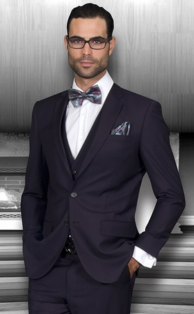 Statement Mens Slim Fit Suits 3 Piece Eggplant Wool Lorenzo - click to enlarge