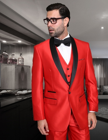 Statement Red Modern Fit 3 Piece Shawl Collar Tuxedo Enzo-7 - click to enlarge