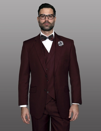 Statement Men's Wool Burgundy 3 Piece DB Vested Suit Messina - click to enlarge