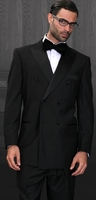 Statement Wool Tuxedo Mens Double Breasted Black Tux-DB