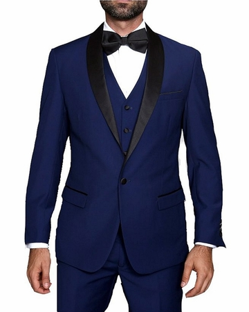 Statement Wool Tuxedo Mens Sapphire Blue 3 Piece TUX-SH - click to enlarge