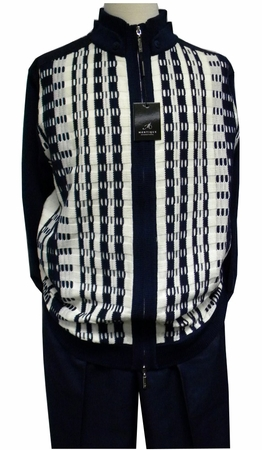 Montique Mens Navy Ivory Zipper Sweater Pants Set 1509 - click to enlarge