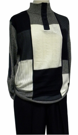 Stacy Adams Mens Navy Multi Pattern Sweater and Pants Outfit 8332 - click to enlarge