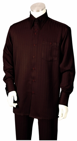 Canto Mens Brown Tone on Tone Stripe Walking Suit 884 - click to enlarge