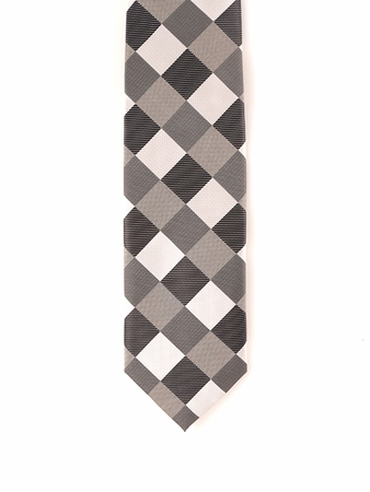 Steven Land 100% Silk White Black Square Pattern Tie and Hanky Set 009 - click to enlarge