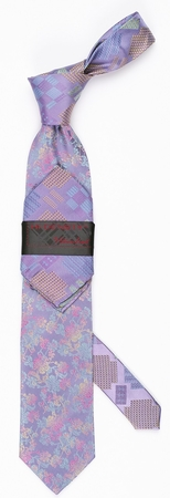 Steven Land Big Knot Silk Tie Set Lilac HDS1570 - click to enlarge