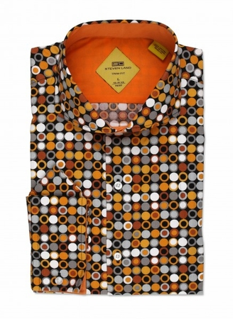 Steven Land Black Rust Dot Slim Fit Fashion Shirt TS536 - click to enlarge