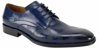 Steven Land Shoes Navy Checkered Pattern Fashion Leather Lace Up SL0038
