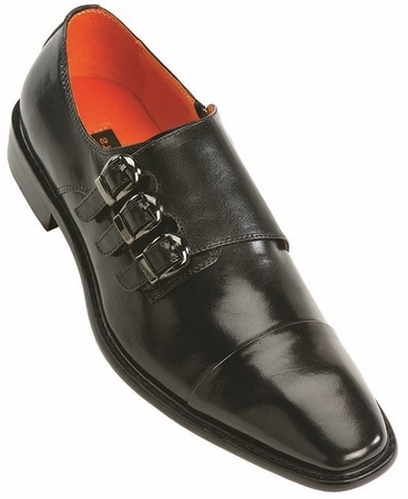 Steven Land Black 3 Buckle Leather Dress Shoes SL308 IS - click to enlarge