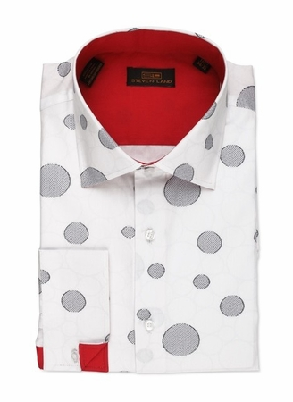 Steven Land White Black Circle Pattern Cotton Shirt DA533 - click to enlarge