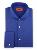 Steven Land Shirt Mens Royal Blue Taper Collar French Cuff DC60
