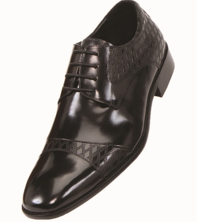 Steven Land Shoes Black Diamond Cap Toe Leather Lace Up SL9711 IS - click to enlarge