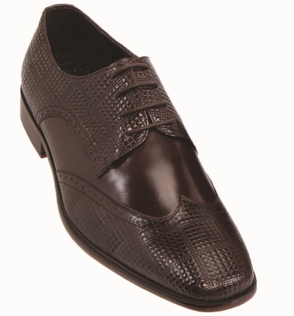 Steven Land Brown Leather Wingtip Patch Dress Shoes SL9080 IS - click to enlarge