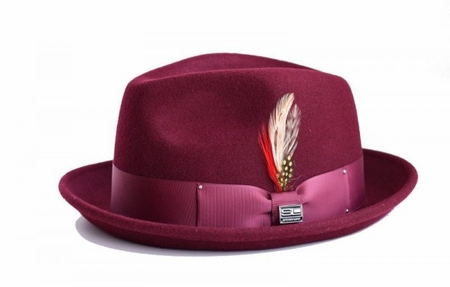 Steven Land Hats Mens Wool Burgundy Stingy Brim Ayden - click to enlarge