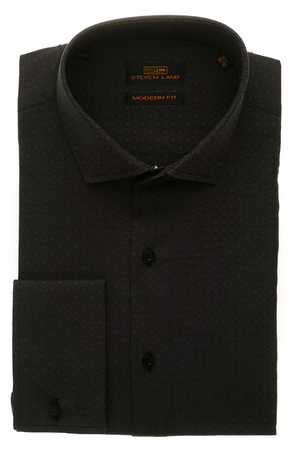 Steven Land Mens Black Shadow Pattern Cotton Shirt DM1260 - click to enlarge