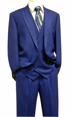 Steven Land Mens Bright Blue Plaid DB Vest Suit Walter SL77-421 IS - click to enlarge